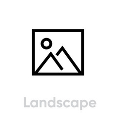 landscape flat icon editable outline vector image