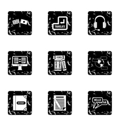Language learning icons set grunge style vector
