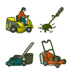 Lawnmower icons set hand drawn style vector