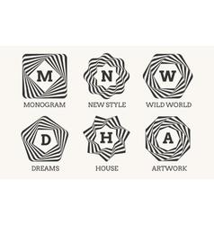 Line art logo design or monogram vector image