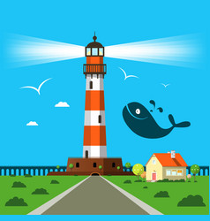 lit lighthouse cartoon with house and whale vector image