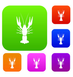 Lobster set collection vector