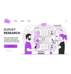 Male and female characters are working on survey vector