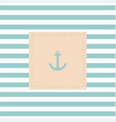 Nautical card or invitation with anchor pastel vector