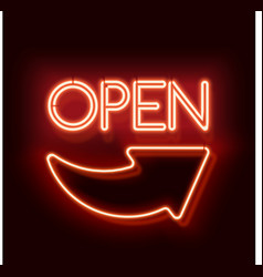 Neon word entry Open with arrow vector image