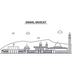 Oman muscat architecture line skyline vector