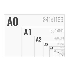 Paper size format series a from a0 to a10 vector