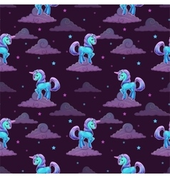 Pattern with little cartoon blue unicorn vector
