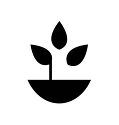 plant with leaves in a pot icon icon simple vector image