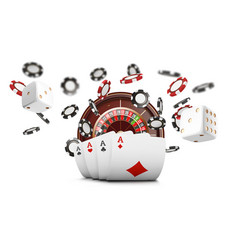 playing cards and poker chips fly casino casino vector image