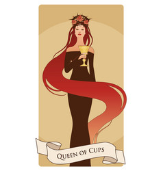 queen of cups with crown roses and thorns holding vector image