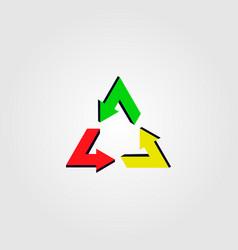 recycle reggae logo icon rastafarian color style vector image