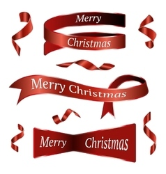 Red Christmas Ribbons Set vector