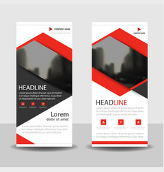 Red triangle roll up business brochure flyer vector