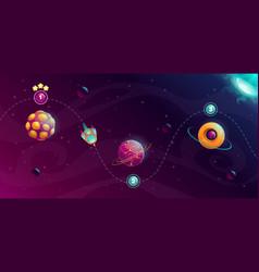 Rocket space trip concept galaxy game design vector