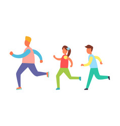 running people set isolated cartoon icon vector image