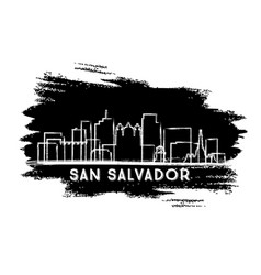 San salvador city skyline silhouette hand drawn vector
