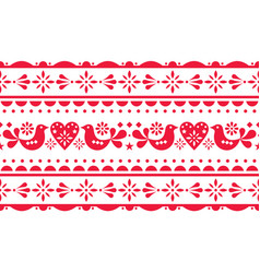 scandinavian love valentines day seamless pattern vector image