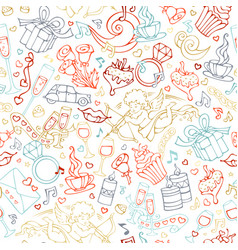 seamless linear valentines pattern vector image vector image