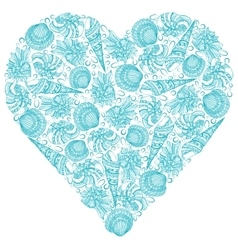 Seashells background in the shape of heart vector