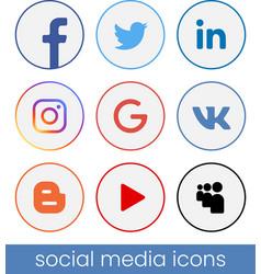 Set of circle popular social media logos vector