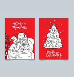 set of hand drawn greeting cards great print vector image