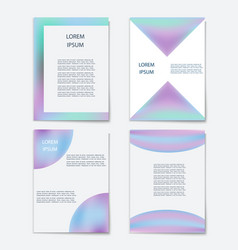 set of template with holographic shapes vector image