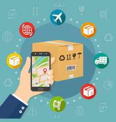 Shipping parcel gps tracking order flat design vector