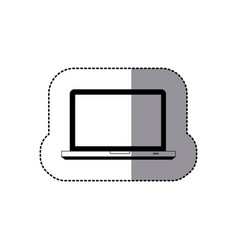 Sticker silhouette front view tech laptop icon vector