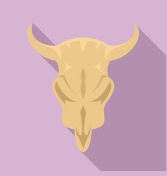 stone age cow skull icon flat style vector image
