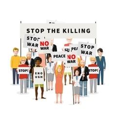 Stop war demonstration crowd people vector