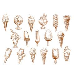sundae gelato and sorbet ice cream sketch set vector image