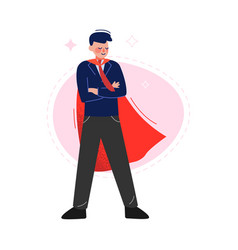 Super man in red waving cape standing with folded vector