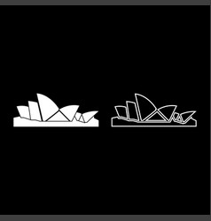 Sydney opera house icon set white color flat vector