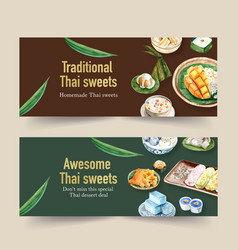 Thai sweet banner design with sticky rice pudding vector
