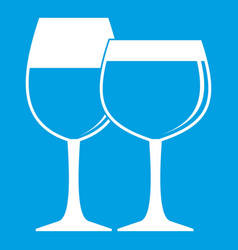 two glasses of wine icon white vector image