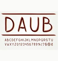 typeface sans serif font hand drawn artistic vector image