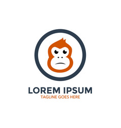 unique monkey logo template vector image