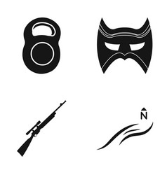 Weight mask and other web icon in black style vector