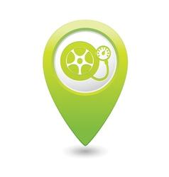 Wheel pump icon green map pointer vector