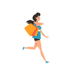 young brunette woman with shopping bags and vector image