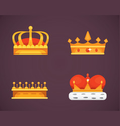 Collection of crown icons awards for winners vector