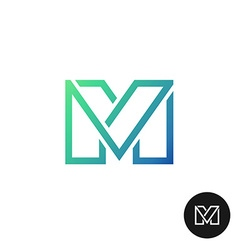 Letter M divided wide line style colorful logo vector image vector image