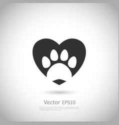 paw print inside heart icon vector image vector image