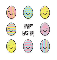 smiley colorful easter eggs greeting vector image