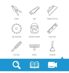 Trowel for tile saw and brush tool icons vector