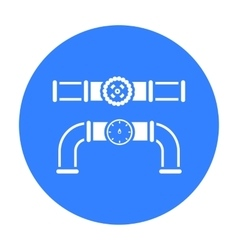 Valve and meter icon in black style isolated on vector image