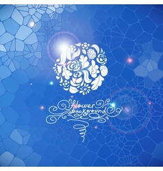 Blue print background with circle flowers vector image