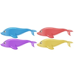 Four colorful dolphins vector image vector image