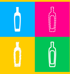 olive oil bottle sign four styles of icon on four vector image